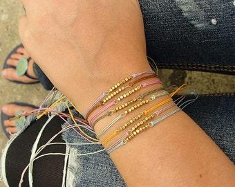 Set of 4 Summer Tiny bead Hemp Bracelets // Eco-friendly // Boho // Yoga // Hippie // Festival // Coachella // Bohemian // Gypsy Jewelry