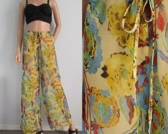 High waisted sheer pants trousers, yellow patterned, wide flared leg, loose fit, see through chiffon, small medium