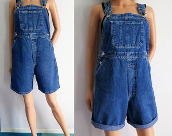Short dungarees overalls, blue denim jeans, french vintage retro, baggy loose, farmer overalls, small medium