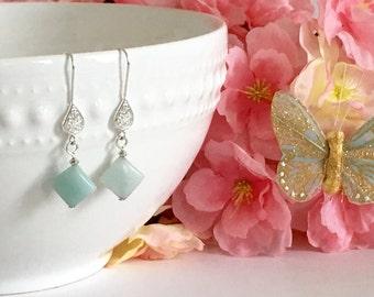 Sterling Silver Amazonite Dangle Earrings