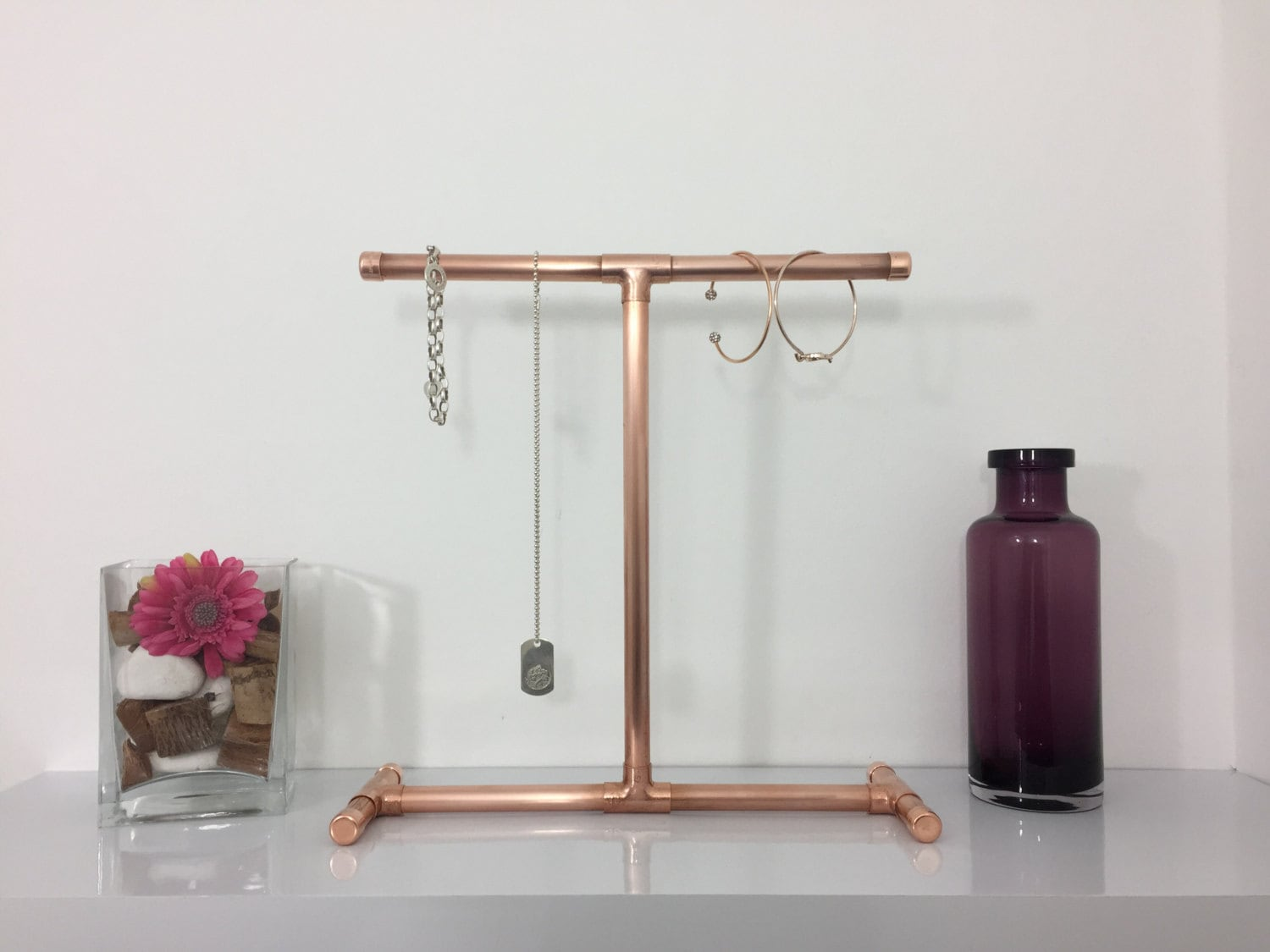 Custom made to order copper pipe jewellery stand for necklaces for Copper pipe jewelry stand