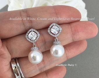 Swarovski Pearl Earrings, Dangel Earrings, Wedding Earrings, Bridal Earrings, Bridesmaid Earrings, Wedding Jewelry, Cubic Zirconia Earrings