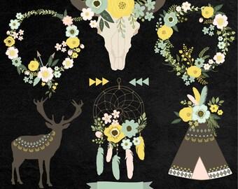 Chalkboard Floral Tribal Clip Art. Floral Skull, Floral Teepee, Floral Wreaths. 11 images, 300 dpi. Eps, Png files. Instant Download.
