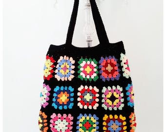 Crochet Bag, Retro Bag,Crochet Beach Bag, Granny Square Bag, Boho Style, Shoulder Bag, Gift for Her, Summer Bag