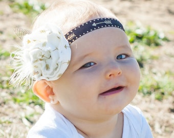Baby Girl Headband- Baby Headbands- Flower Headband- Flower girl Headband- Fall Headband- Newborn Headband- Photo Prop- Gold Arrow Headband