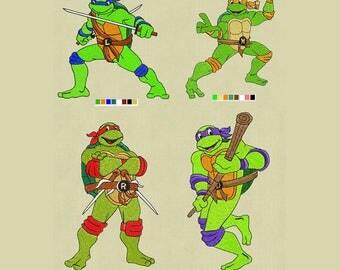 Ninja Turtles 4 set embroidery designs 4x4 pes hus jef vp3 exp dst vip