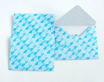 3 Blue Heart Envelopes, Gift Card/Stationery/Money/Notelet Envelopes, Unique Handmade Valentine Heart Patterned Envelope Wallets