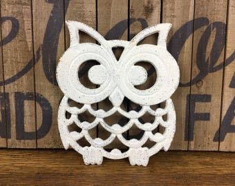 Cast Iron Owl Trivet, Creamy White Owl Plant Holder, Rustic Hot Plate, Large Metal Owl Decor, Woodland Animal Stand, Spring Garden Accent