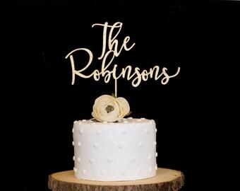Custom Wood Metallic Last Name Wedding Cake Topper Gold