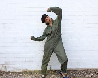 Vintage Military Army Green Flight Suit Jumpsuit Coveralls