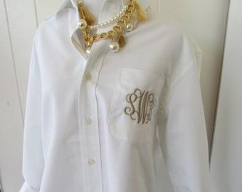 Elegant White Oxford Button Down with monogram
