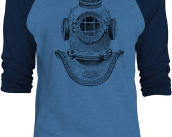 Big Texas Deep Sea Diver Helmet (Black) Unisex 3/4-Sleeve Raglan Baseball T-Shirt