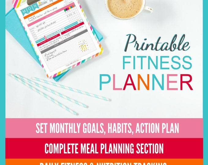 Featured listing image: Printable Diet & Fitness Planner | perfect for BEACHBODY programs | 8.5x11 PDF