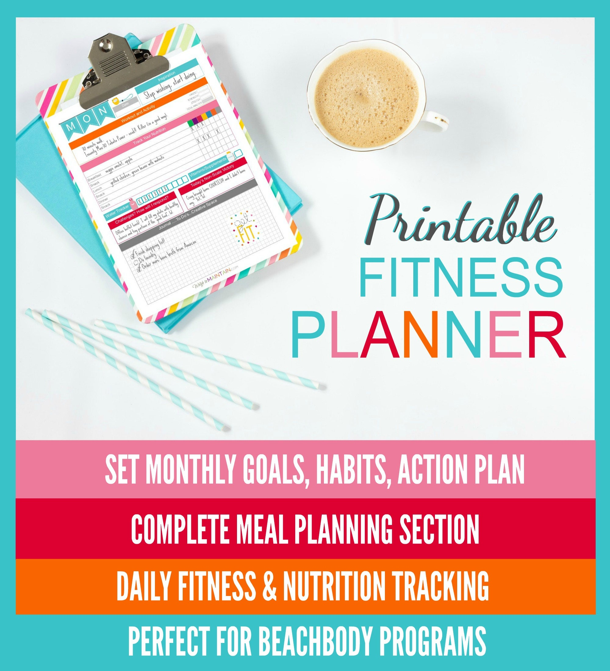 Diet plan for healthy life - Featured Listing Image Printable Diet Fitness Planner Perfect For Beachbody Programs 8 5