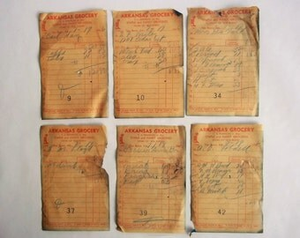 Grocery Carbon Receipts, 1946 Vintage Receipts, Lot of 6, Unique Art Supply, Collage Scrapbooking Supply, History Buff