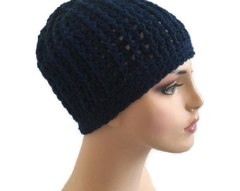 Crochet Chemo Cap Cotton Hats Cancer Patient Gifts Navy Blue Ready to Ship