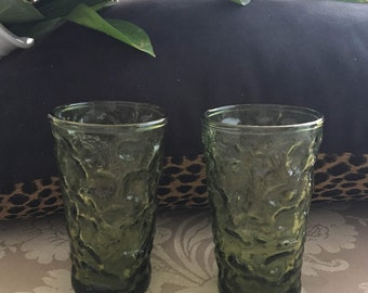 Vintage Green Anchor Hocking Milano Lido Juice Glasses Set of 2