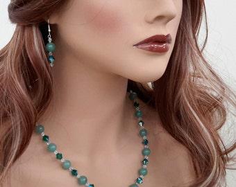 Swarovski Crystals & Green Aventurine Necklace Set