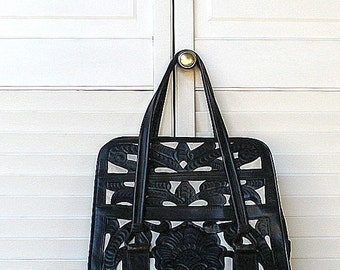 Vintage Tooled Leather Top Handle Purse Black Cutout Shows White Leather 1950s Rockabilly Chic Tote Handbag