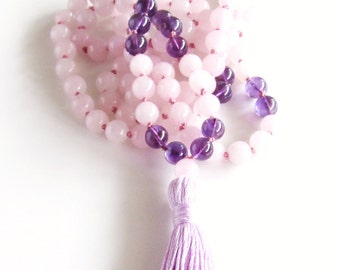 Rose Quartz Mala Necklace Amethyst Mala 108 Mala Necklace Yoga Necklace Meditation Necklace Tassel Necklace Rose Quartz Heart Chakra Gift