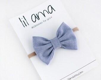Chambray Baby Headband - Fabric Bows - Newborn Headband - Chambray Hair Bow - Denim Baby Bow Headband - Baby Girl Bows