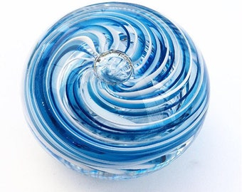 Glass Art One of a Kind Twisted Aquamarine & White Cane Glass Blown Paperweight