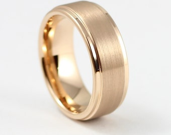 Beautiful Rose Gold Men's Wedding Band, 8MM, Men's Ring, Tungsten Carbide Ring, Free Engraving, Comfort Fit, Sizes 7-13