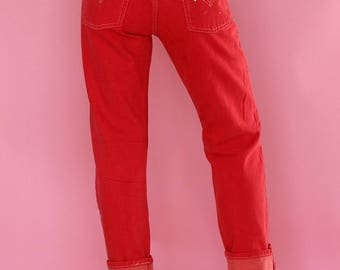 Dead Stock Vintage 80's Red Levi's 501's RARE Levi's / New Vintage Woman's levi's 501's  sz 27  Made in USA