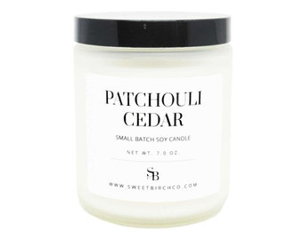 Patchouli Candle - Scented Cedar Candle - Patchouli Gift - Aromatherapy Soy Candles - Cedar Wood Oil - Manly Candle
