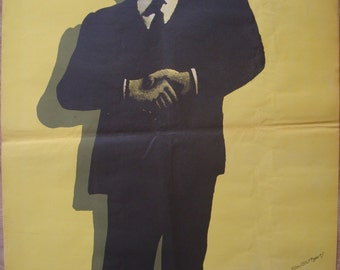 26x38 art print, RARE! The Associate, ORIGINAL Vintage Polish poster, Movie POSTER, by Wasilewski, wall decore, decoration, Wasilewski art