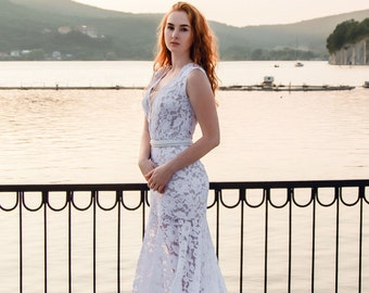 Lace mermaid wedding dress, Mermaid style wedding dress, Mermaid gown, Wedding dress mermaid, mermaid bridesmaid dress, 0028 // 2016