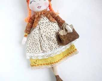 Anne Story Book Character Dolls OOAK Heirloom Doll Rag doll cloth art doll book lover gift