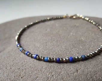 Slim Lapis Lazuli and Pyrite bracelet, delicate gemstone bracelet, blue stone, stacking jewelry, small sparkly bracelet