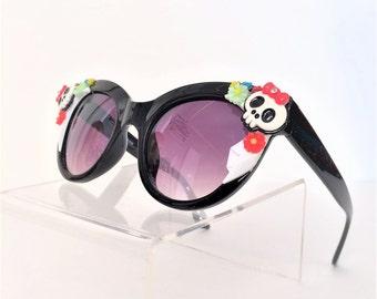 Sugar Skull Sunglasses, Skull Sunglasses, Cat Eye Sunglasses