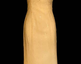 Pale Yellow Beaded Evening Gown                      VG269