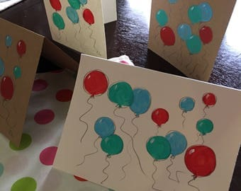 Painted Birthday card, blank painted card, hand painted greeeting card, original birthday card, painted balloons note card, CerenaLevene