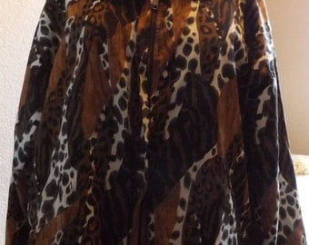 SALE Womens Animal Leopard Print Lined Wind Breaker Jacket Large 90's