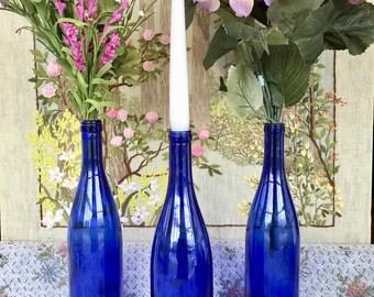 Glass Bottles Blue Glass Vase Blue Glass Bottles Glass Vase Cobalt Blue Wedding Centerpiece Party Decor Wedding Vases for Wedding Blue Decor