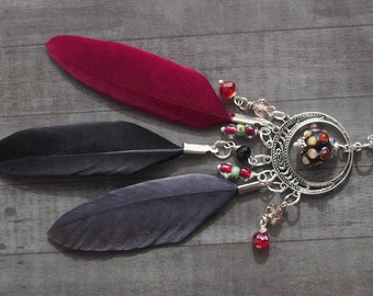 Bohemian Dream Catcher Necklace / Earring, Mix and Match Earring, Spiritual Jewelry, Boho Lampwork Glass, Red Feather and  Silver Necklace