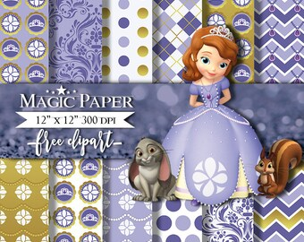 50% OFF SALE Princess Sofia the first Digital Paper Clipart Clip Art