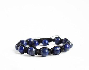 Mens beaded bracelet, lazurite bracelet, blue mens bracelet, blue stone bracelet, lazurite shamballa, bracelet meaning blue healing bracelet