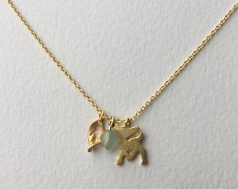 Bambi Deer Necklace with Tiny Leaf and Aventurine Quartz bead pendant, Deer charm Necklace