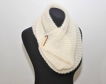 Ivory infinity scarf knitted mohair cowl knit circle scarf hand knit white cowl mohair scarf warm mohair ivory cowl winter cream scarf