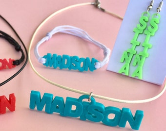 Personalized Jewelry Earrings, Necklaces, Bracelets 3D Printed