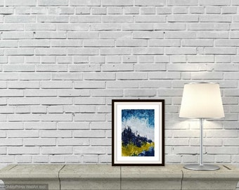 landscape painting 5x7 original painting abstract acrylic blue green white small modern wall art