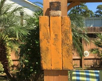 Rustic Wood Block Fall Pumpkin