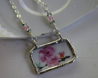 Pink flower necklace- broken china jewelry- broken china pendant necklace- vintage china necklace - gift for her
