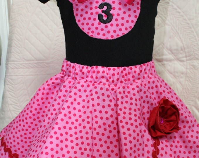 3rd birthday,Girl Third birthday outfit,Minnie Mouse inspired pink birthday outfit, Minnie Mouse shirt, Pink Polka dot twirl skirt,Disney