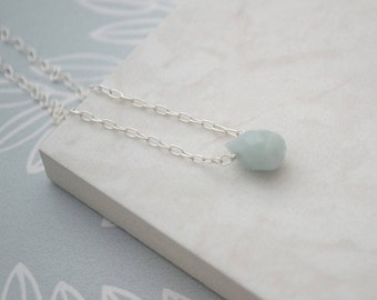 Amazonite Briolette Necklace, Sterling Silver Necklace, Amazonite Drop Necklace, Amazonite Tear Drop Pendant, Wire Wrapped Faceted Necklace