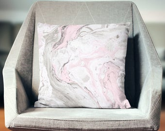 Pink Marble Pillow | Marble Pillow | Couch Pillow | Couch Throw Pillow | Marble Throw Pillow | Marble Decor | Marble Home Decor |
